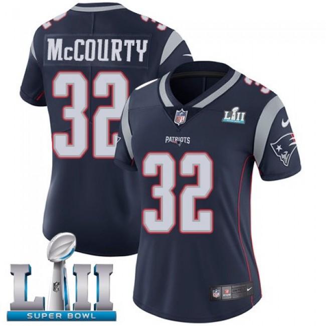Women's Patriots #32 Devin McCourty Navy Blue Team Color Super Bowl LII Stitched NFL Vapor Untouchable Limited Jersey