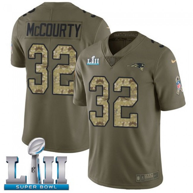 New England Patriots #32 Devin McCourty Olive-Camo Super Bowl LII Youth Stitched NFL Limited 2017 Salute to Service Jersey