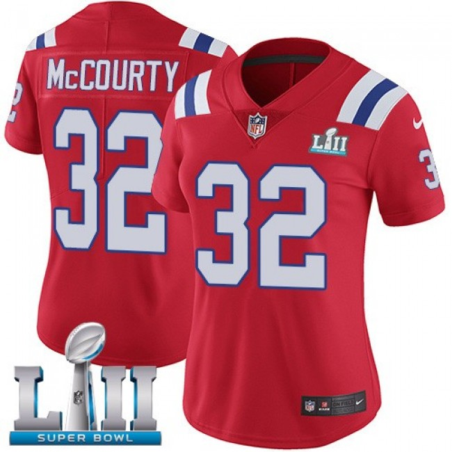 Women's Patriots #32 Devin McCourty Red Alternate Super Bowl LII Stitched NFL Vapor Untouchable Limited Jersey