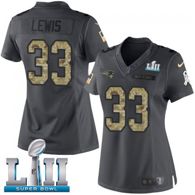 Women's Patriots #33 Dion Lewis Black Super Bowl LII Stitched NFL Limited 2016 Salute to Service Jersey