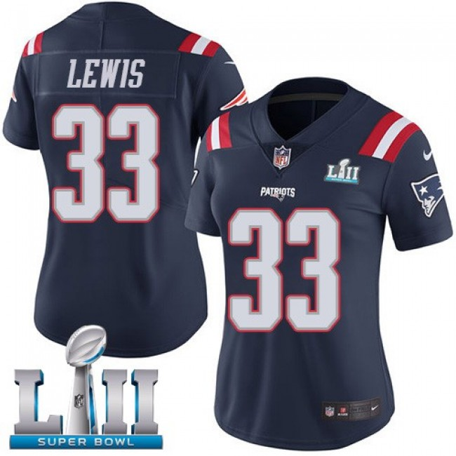 Women's Patriots #33 Dion Lewis Navy Blue Super Bowl LII Stitched NFL Limited Rush Jersey