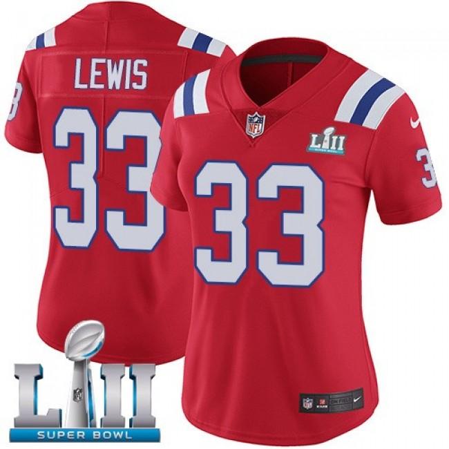 Women's Patriots #33 Dion Lewis Red Alternate Super Bowl LII Stitched NFL Vapor Untouchable Limited Jersey