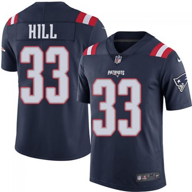 Nike Patriots #33 Jeremy Hill Navy Blue Men's Stitched NFL Limited Rush Jersey