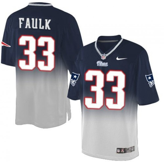 Nike Patriots #33 Kevin Faulk Navy Blue/Grey Men's Stitched NFL Elite Fadeaway Fashion Jersey
