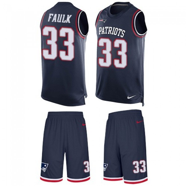 Nike Patriots #33 Kevin Faulk Navy Blue Team Color Men's Stitched NFL Limited Tank Top Suit Jersey