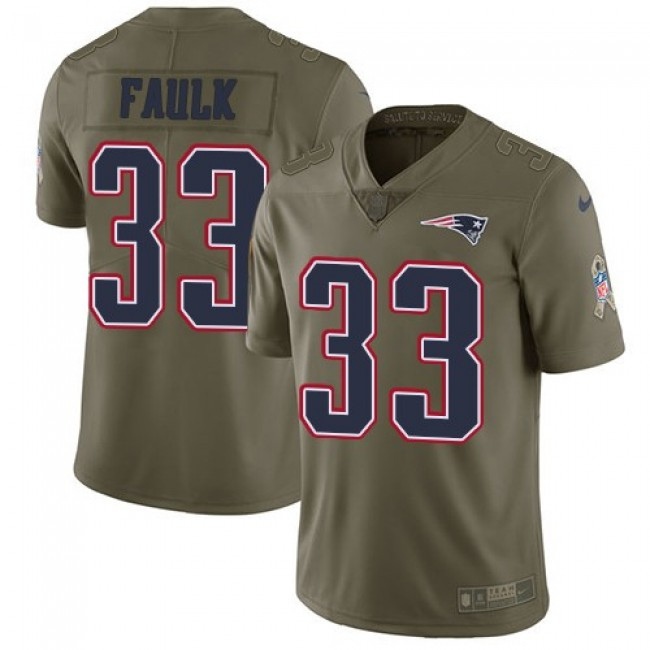 Nike Patriots #33 Kevin Faulk Olive Men's Stitched NFL Limited 2017 Salute To Service Jersey