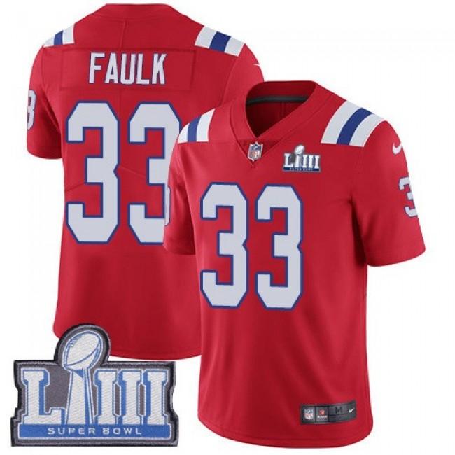 Nike Patriots #33 Kevin Faulk Red Alternate Super Bowl LIII Bound Men's Stitched NFL Vapor Untouchable Limited Jersey