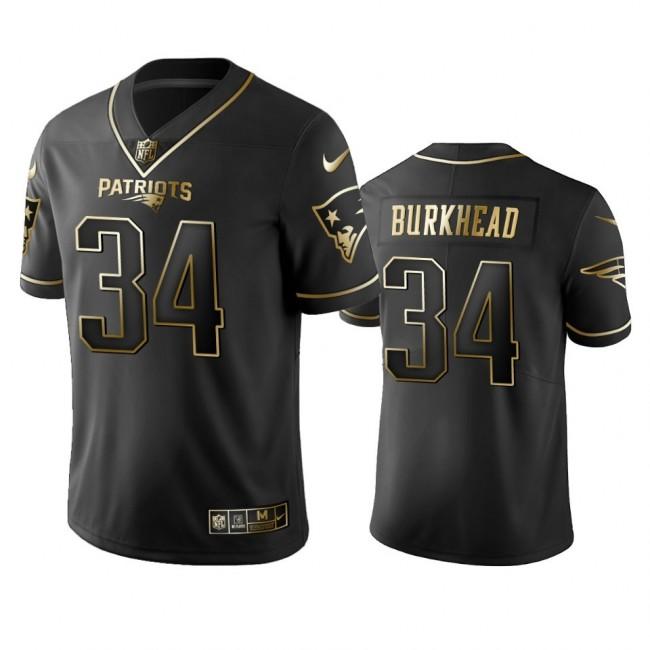 Nike Patriots #34 Rex Burkhead Black Golden Limited Edition Stitched NFL Jersey