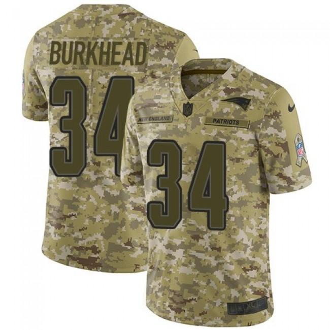 Nike Patriots #34 Rex Burkhead Camo Men's Stitched NFL Limited 2018 Salute To Service Jersey