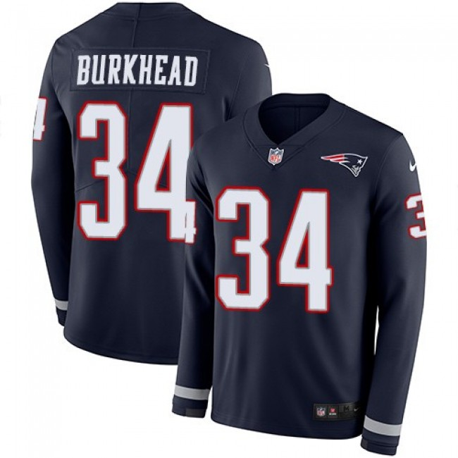 Nike Patriots #34 Rex Burkhead Navy Blue Team Color Men's Stitched NFL Limited Therma Long Sleeve Jersey