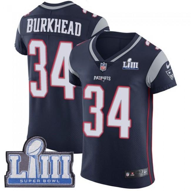 Nike Patriots #34 Rex Burkhead Navy Blue Team Color Super Bowl LIII Bound Men's Stitched NFL Vapor Untouchable Elite Jersey
