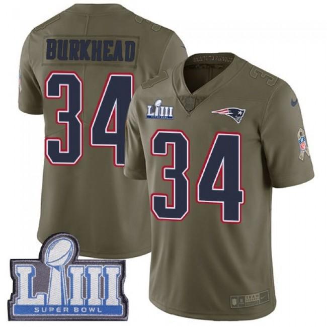 Nike Patriots #34 Rex Burkhead Olive Super Bowl LIII Bound Men's Stitched NFL Limited 2017 Salute To Service Jersey