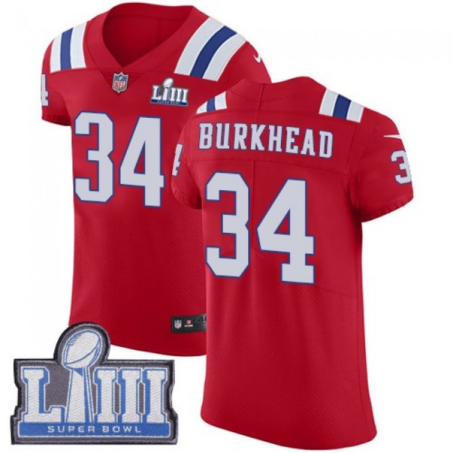 Nike Patriots #34 Rex Burkhead Red Alternate Super Bowl LIII Bound Men's Stitched NFL Vapor Untouchable Elite Jersey