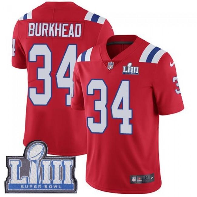 Nike Patriots #34 Rex Burkhead Red Alternate Super Bowl LIII Bound Men's Stitched NFL Vapor Untouchable Limited Jersey