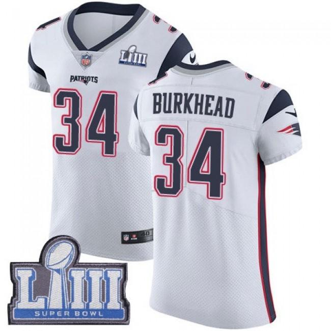 Nike Patriots #34 Rex Burkhead White Super Bowl LIII Bound Men's Stitched NFL Vapor Untouchable Elite Jersey