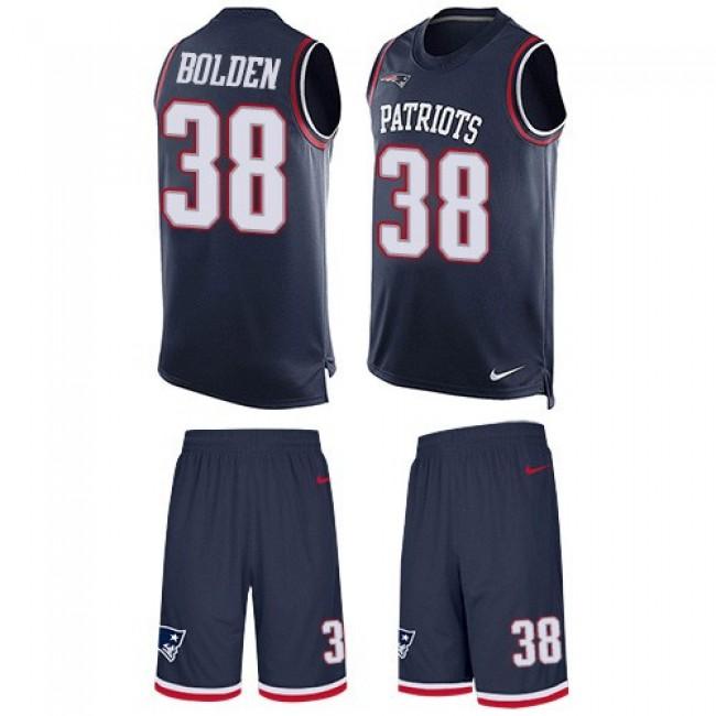 Nike Patriots #38 Brandon Bolden Navy Blue Team Color Men's Stitched NFL Limited Tank Top Suit Jersey