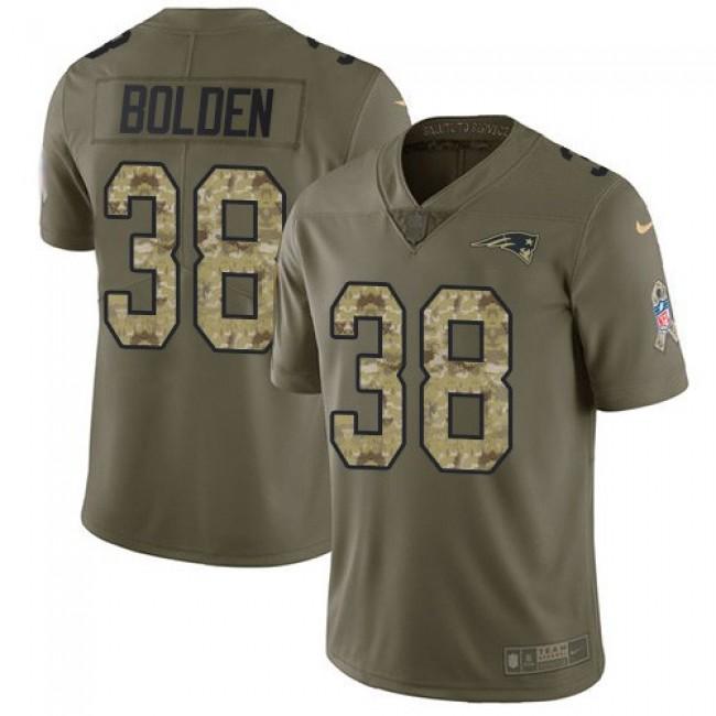 Nike Patriots #38 Brandon Bolden Olive/Camo Men's Stitched NFL Limited 2017 Salute To Service Jersey