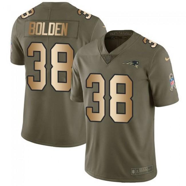 Nike Patriots #38 Brandon Bolden Olive/Gold Men's Stitched NFL Limited 2017 Salute To Service Jersey