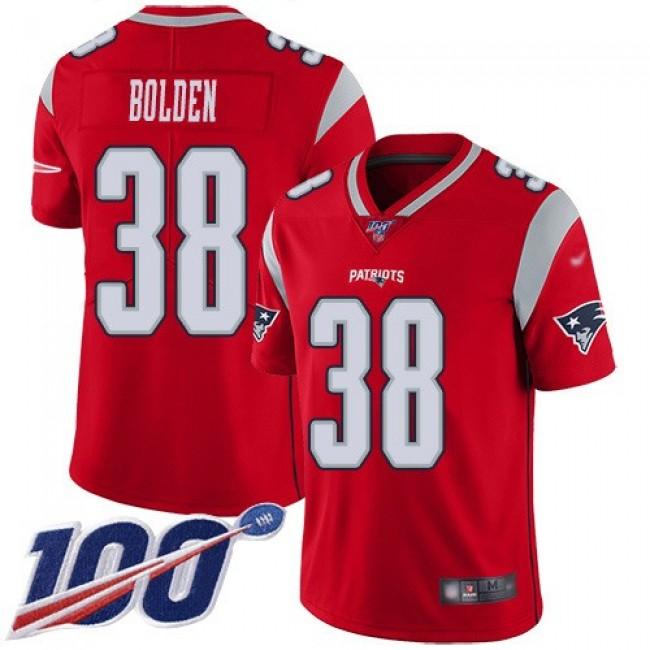 Nike Patriots #38 Brandon Bolden Red Men's Stitched NFL Limited Inverted Legend 100th Season Jersey