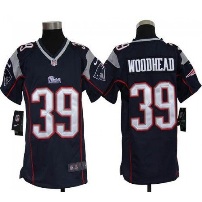 New England Patriots #39 Danny Woodhead Navy Blue Team Color Youth Stitched NFL Elite Jersey