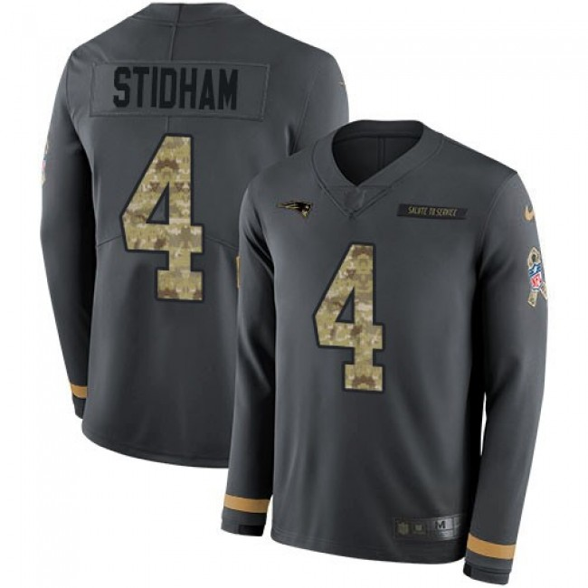 Nike Patriots #4 Jarrett Stidham Anthracite Salute to Service Men's Stitched NFL Limited Therma Long Sleeve Jersey
