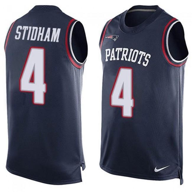 Nike Patriots #4 Jarrett Stidham Navy Blue Team Color Men's Stitched NFL Limited Tank Top Jersey