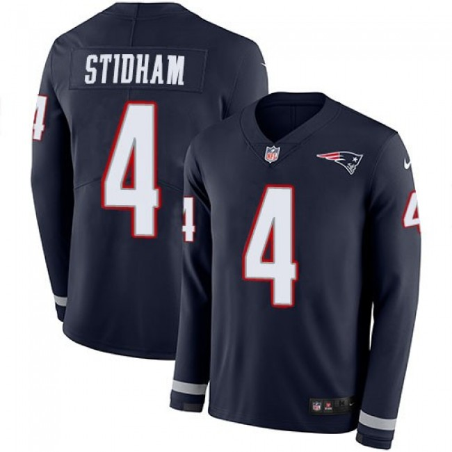 Nike Patriots #4 Jarrett Stidham Navy Blue Team Color Men's Stitched NFL Limited Therma Long Sleeve Jersey