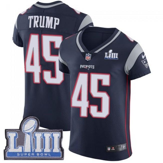 Nike Patriots #45 Donald Trump Navy Blue Team Color Super Bowl LIII Bound Men's Stitched NFL Vapor Untouchable Elite Jersey