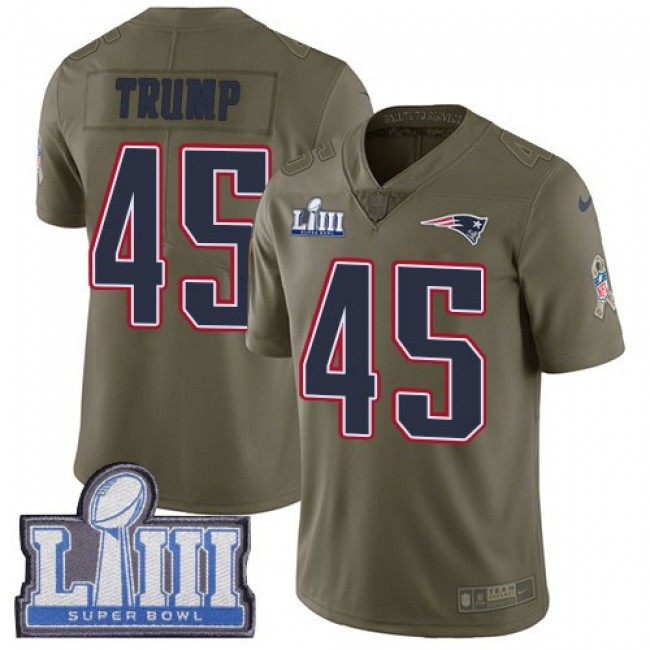 Nike Patriots #45 Donald Trump Olive Super Bowl LIII Bound Men's Stitched NFL Limited 2017 Salute To Service Jersey