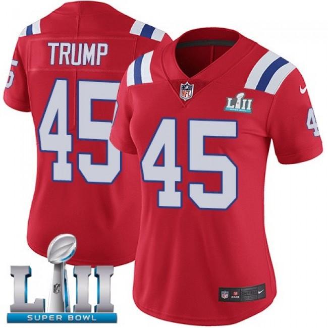 Women's Patriots #45 Donald Trump Red Alternate Super Bowl LII Stitched NFL Vapor Untouchable Limited Jersey