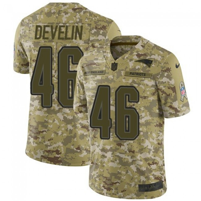 Nike Patriots #46 James Develin Camo Men's Stitched NFL Limited 2018 Salute To Service Jersey