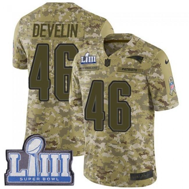 Nike Patriots #46 James Develin Camo Super Bowl LIII Bound Men's Stitched NFL Limited 2018 Salute To Service Jersey