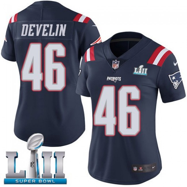 Women's Patriots #46 James Develin Navy Blue Super Bowl LII Stitched NFL Limited Rush Jersey
