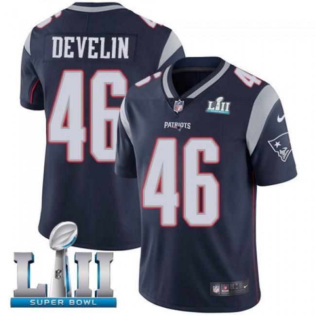 New England Patriots #46 James Develin Navy Blue Team Color Super Bowl LII Youth Stitched NFL Vapor Untouchable Limited Jersey