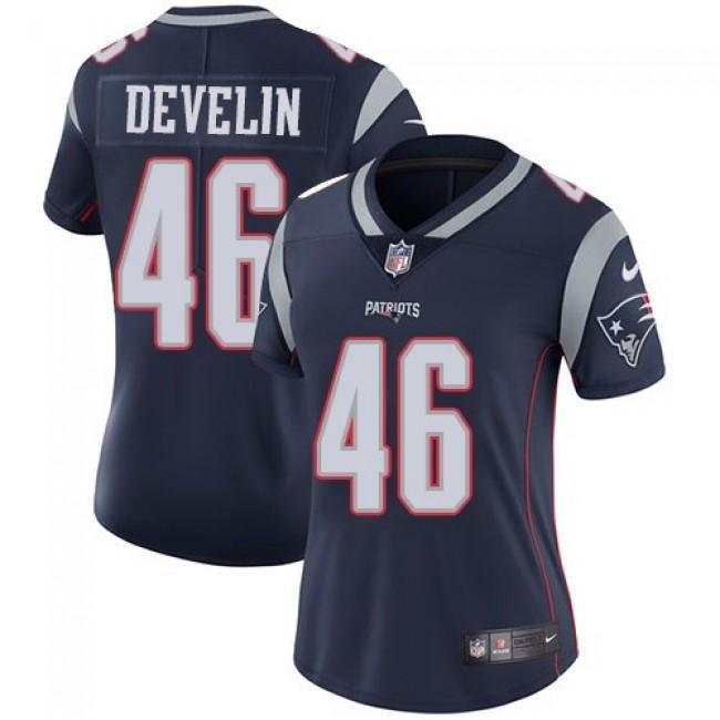 Women's Patriots #46 James Develin Navy Blue Team Color Stitched NFL Vapor Untouchable Limited Jersey