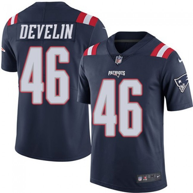 New England Patriots #46 James Develin Navy Blue Youth Stitched NFL Limited Rush Jersey