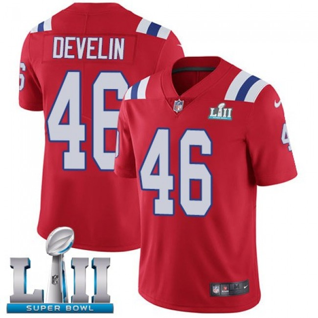 New England Patriots #46 James Develin Red Alternate Super Bowl LII Youth Stitched NFL Vapor Untouchable Limited Jersey