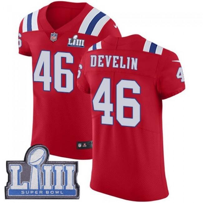 Nike Patriots #46 James Develin Red Alternate Super Bowl LIII Bound Men's Stitched NFL Vapor Untouchable Elite Jersey