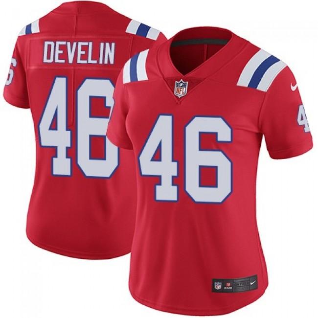 Women's Patriots #46 James Develin Red Alternate Stitched NFL Vapor Untouchable Limited Jersey