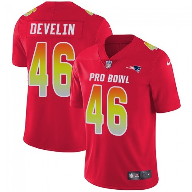 Women's Patriots #46 James Develin Red Stitched NFL Limited AFC 2018 Pro Bowl Jersey