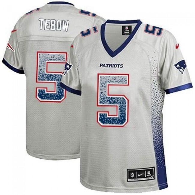 Women's Patriots #5 Tim Tebow Grey Stitched NFL Elite Drift Jersey