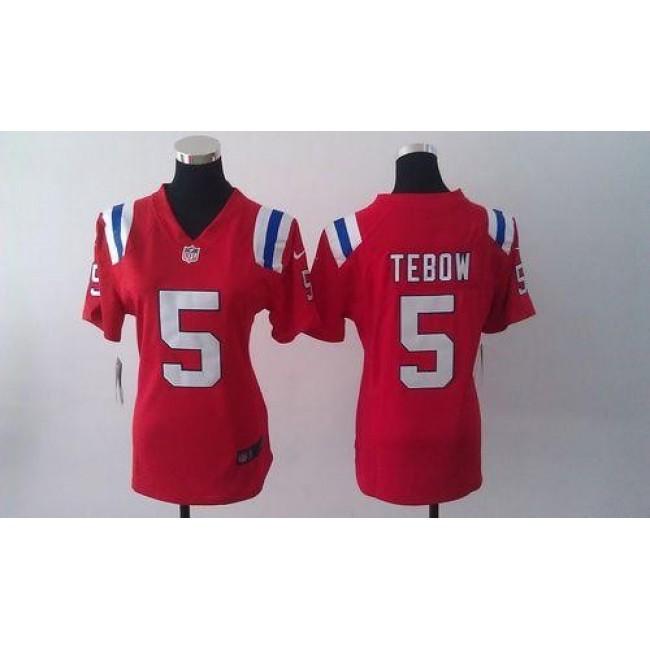 Women's Patriots #5 Tim Tebow Red Alternate Stitched NFL Elite Jersey