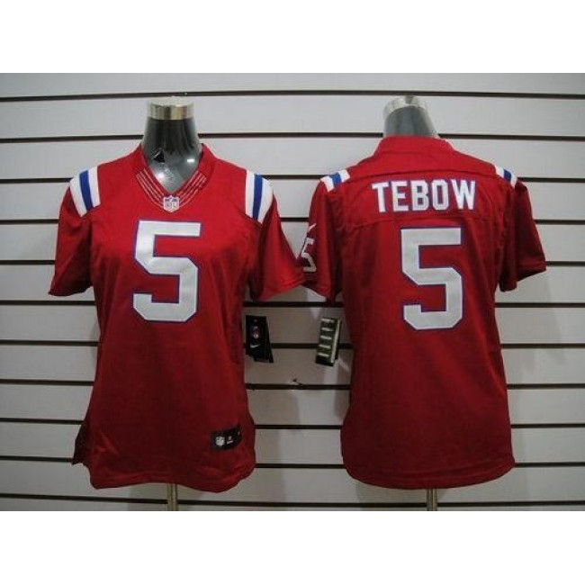 Women's Patriots #5 Tim Tebow Red Alternate Stitched NFL Limited Jersey