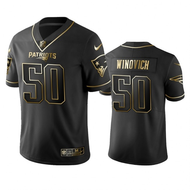 Nike Patriots #50 Chase Winovich Black Golden Limited Edition Stitched NFL Jersey