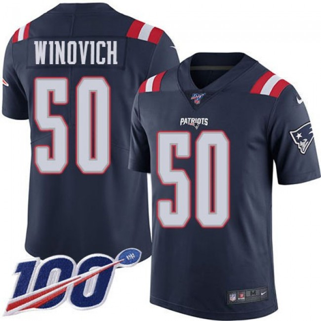 Nike Patriots #50 Chase Winovich Navy Blue Men's Stitched NFL Limited Rush 100th Season Jersey