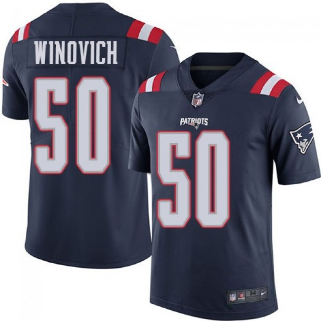 Nike Patriots #50 Chase Winovich Navy Blue Men's Stitched NFL Limited Rush Jersey