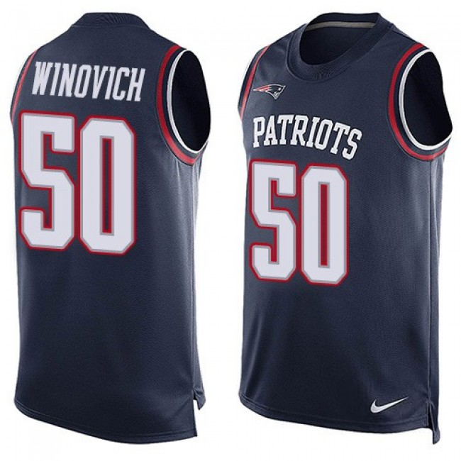 Nike Patriots #50 Chase Winovich Navy Blue Team Color Men's Stitched NFL Limited Tank Top Jersey