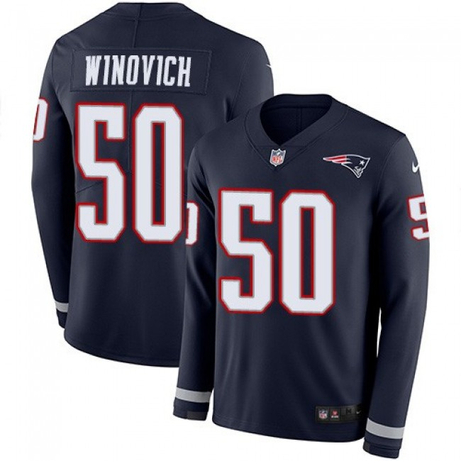 Nike Patriots #50 Chase Winovich Navy Blue Team Color Men's Stitched NFL Limited Therma Long Sleeve Jersey