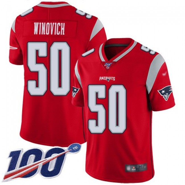 Nike Patriots #50 Chase Winovich Red Men's Stitched NFL Limited Inverted Legend 100th Season Jersey