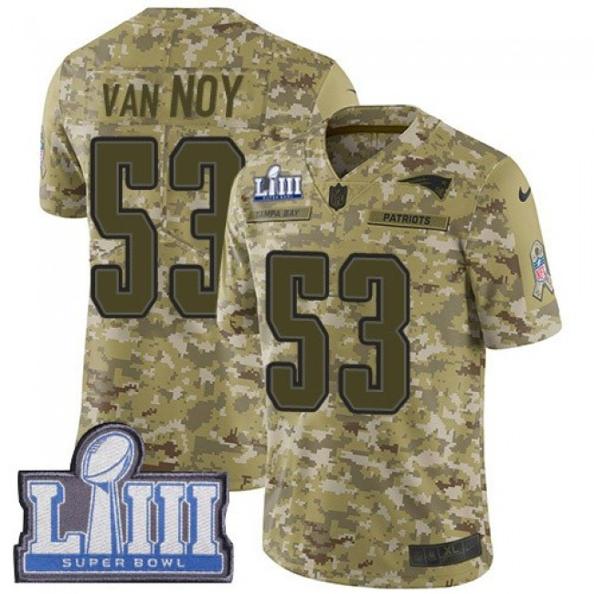 Nike Patriots #53 Kyle Van Noy Camo Super Bowl LIII Bound Men's Stitched NFL Limited 2018 Salute To Service Jersey